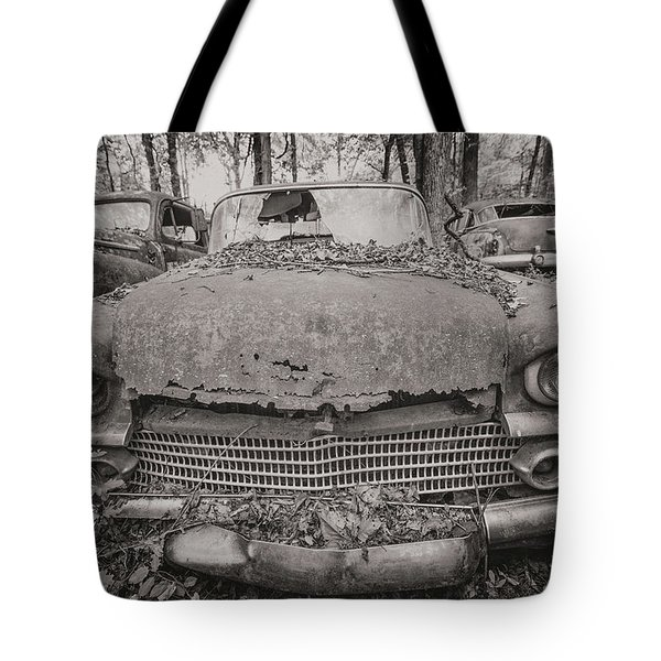Old Car City In Black And White Tote Bag