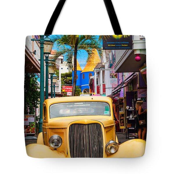 Old Car On Old Street Tote Bag