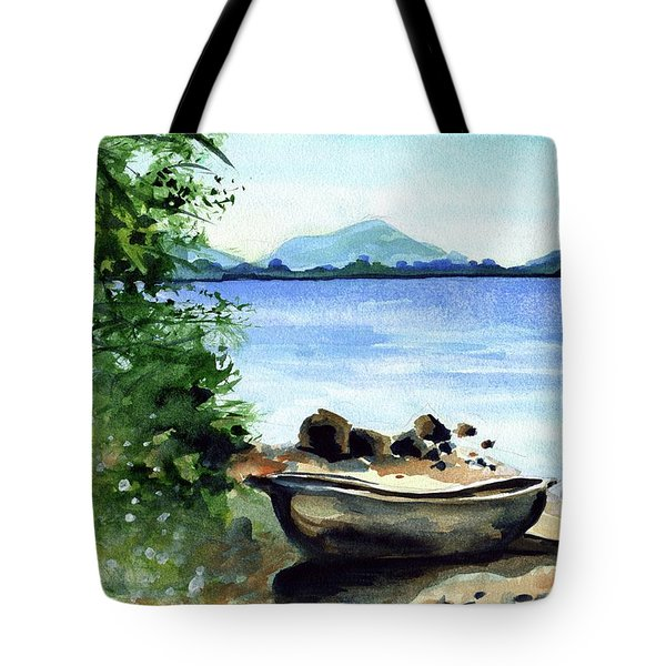 Tote Bag featuring the painting Old Carved Boat At Lake Malawi by Dora Hathazi Mendes