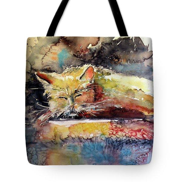 Old Cat Resting Tote Bag by Kovacs Anna Brigitta