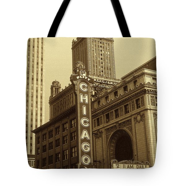Old Chicago Theater - Vintage Photo Art Print Tote Bag by Art America Gallery Peter Potter
