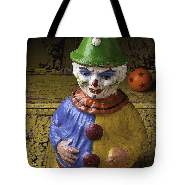 Old Clown And Ball Tote Bag