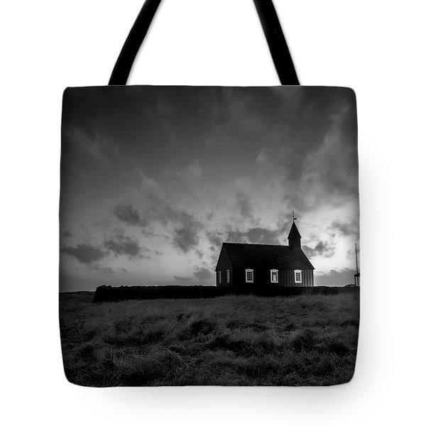 Old Countryside Church In Iceland Tote Bag