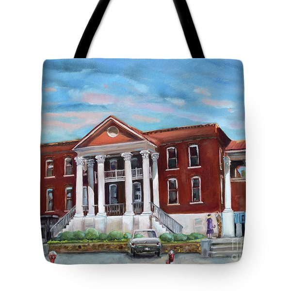 Tote Bag featuring the painting Old Courthouse In Ellijay Ga - Gilmer County Courthouse by Jan Dappen