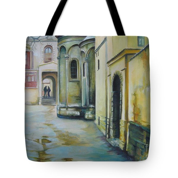 Tote Bag featuring the painting Old Courtyard by Elena Oleniuc