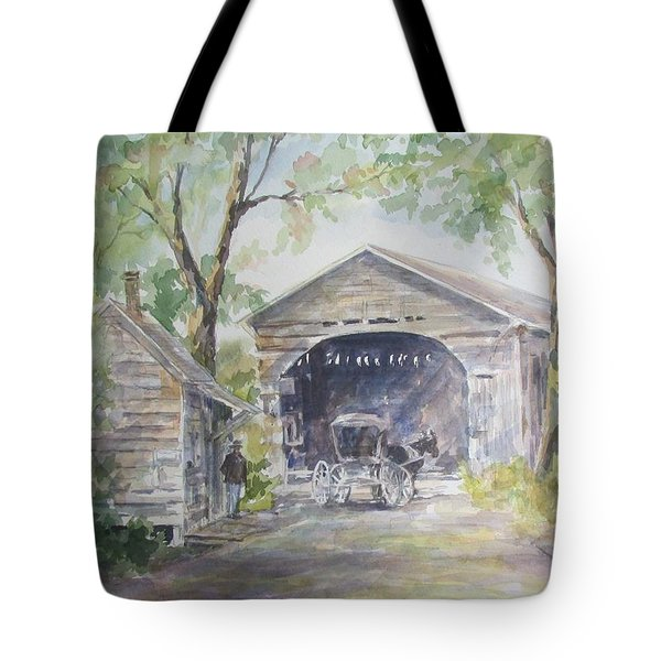 Tote Bag featuring the painting Old Cover Bridge At Pee Dee River by Gloria Turner