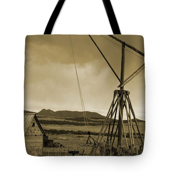 Old Crane And Shed Utah Countryside In Sepia Tote Bag