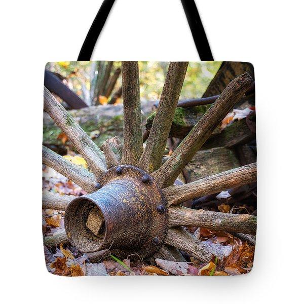Old Decaying Wagon Wheel Tote Bag
