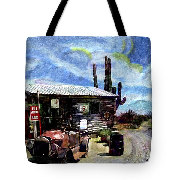 Old Desert Gas Station Tote Bag