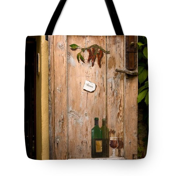 Old Door And Wine Tote Bag by Sally Weigand