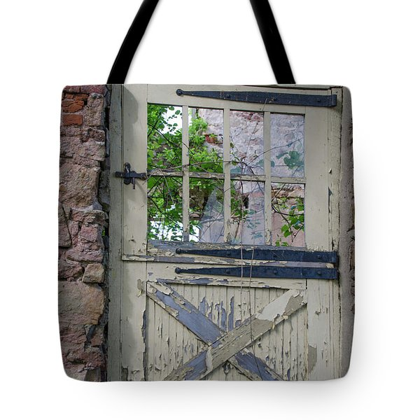 Tote Bag featuring the photograph Old Door From Bridgetown Millhouse Bucks County Pa by Bill Cannon