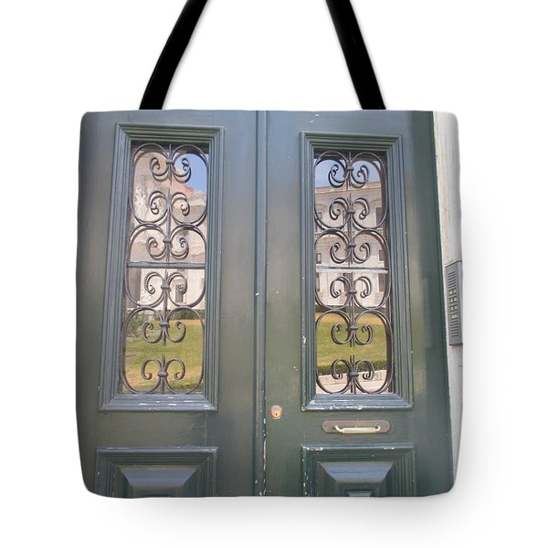 old door with reflection of Lisbon Tote Bag
