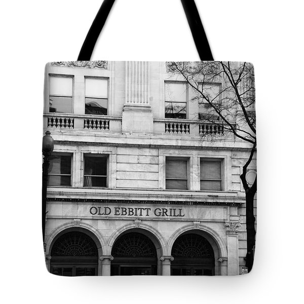 Old Ebbitt Grill Facade Black And White Tote Bag