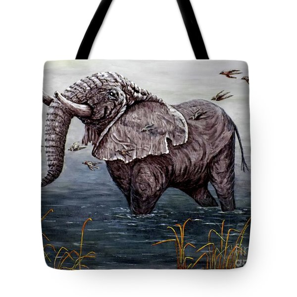 Tote Bag featuring the painting Old Elephant by Judy Kirouac