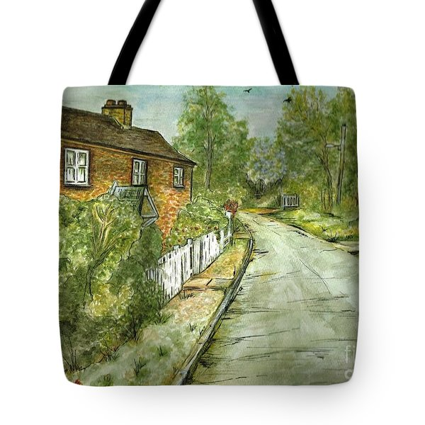 Tote Bag featuring the painting Old English Cottage by Teresa White