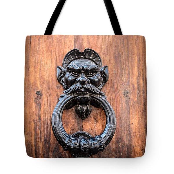 Old Face Door Knocker Tote Bag by Edward Fielding