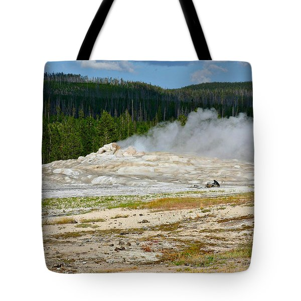 Old Faithful - An American Icon In Yellowstone National Park Wy Tote Bag by Christine Till