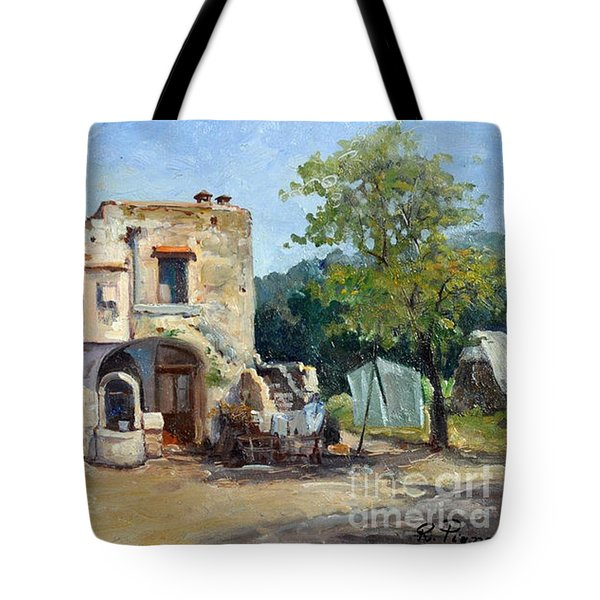 Tote Bag featuring the painting Old Farm by Rosario Piazza