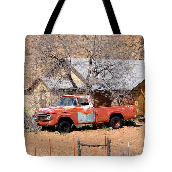 Old Farm Trucks Along Route 66 Tote Bag