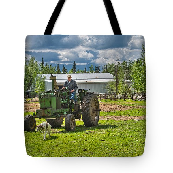 Old Farmer Old Tractor Old Dog Tote Bag