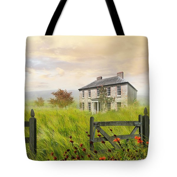 Old Farmhouse In Wheat Field Tote Bag by Sandra Cunningham