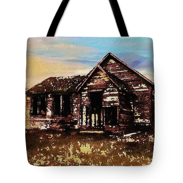 Tote Bag featuring the digital art Old Farmhouse by PixBreak Art