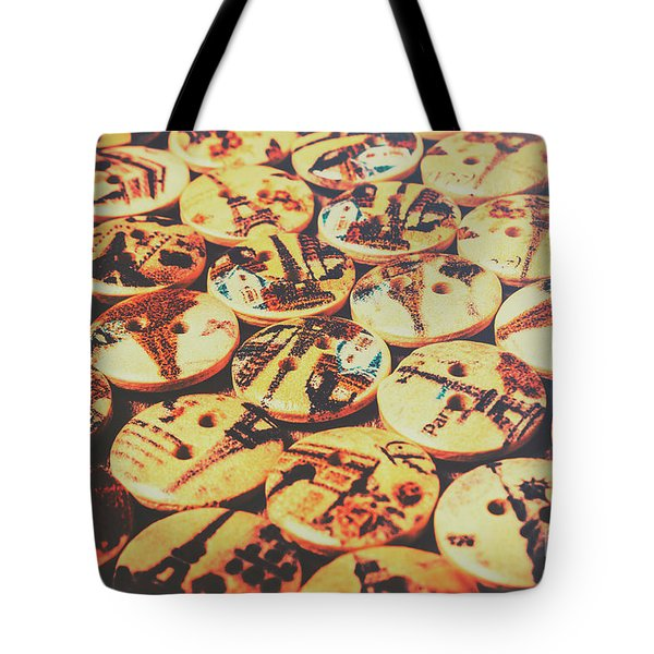Old Fashion Landmark Buttons Tote Bag