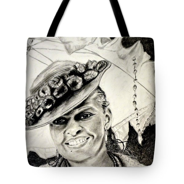 Old Fashioned Girl In Black And White Tote Bag