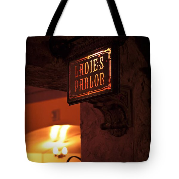 Old Fashioned Ladies Parlor Sign Tote Bag by Carolyn Marshall