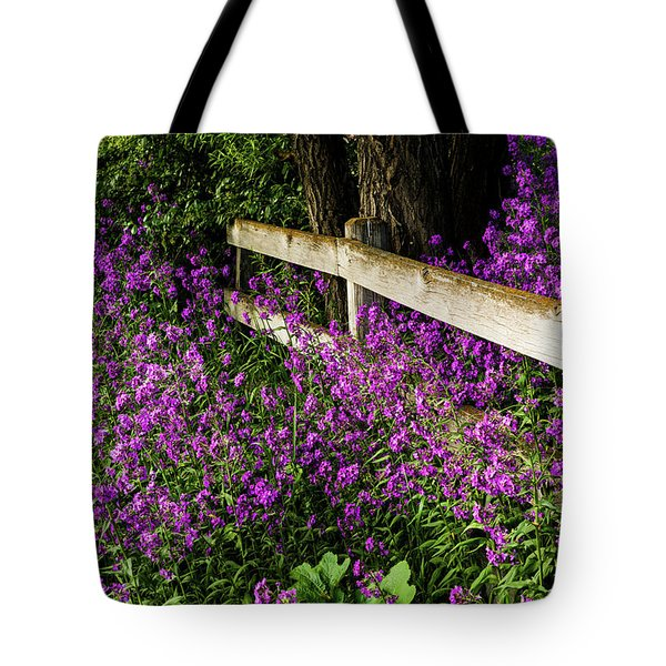 Old Fence And Purple Flowers Tote Bag