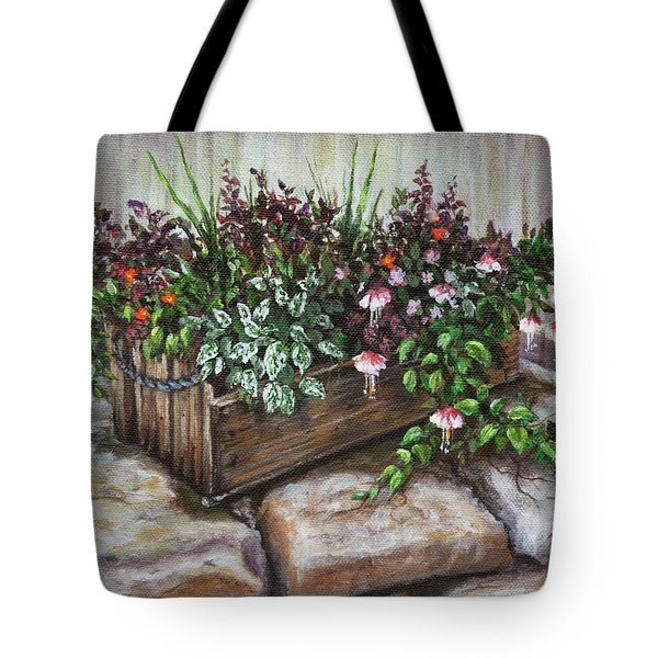 Tote Bag featuring the painting Old Flower Box by Kim Lockman