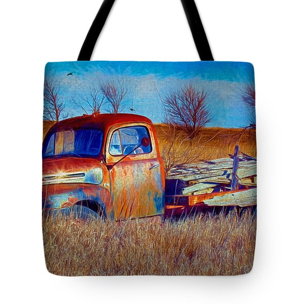 Old Ford F5 Truck Abandoned In Field Tote Bag