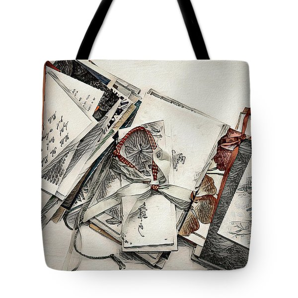 Tote Bag featuring the digital art Old Forgotten Letters by Pennie McCracken