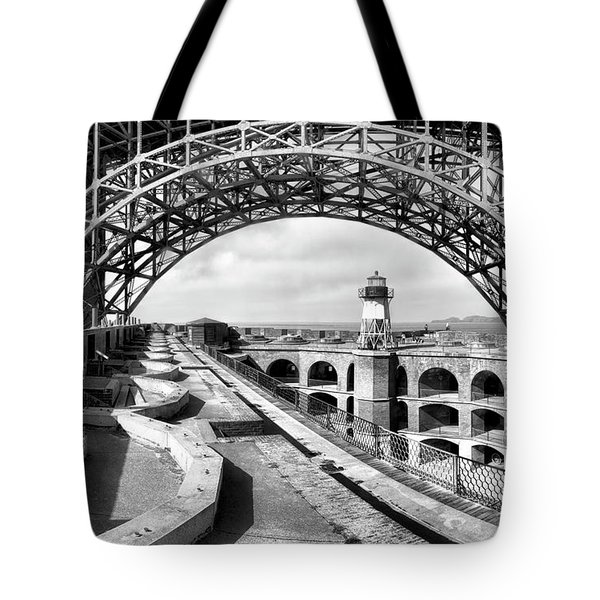 Old Fort Point Lighthouse Under The Golden Gate In Bw Tote Bag