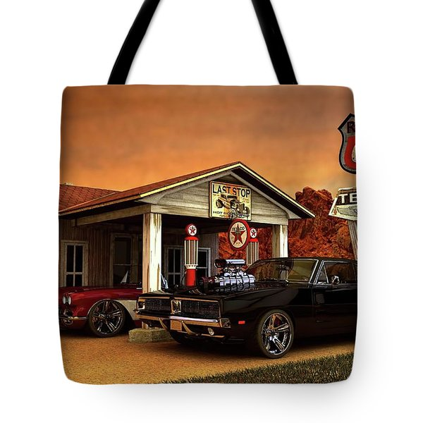 Old Gas Station American Muscle Tote Bag