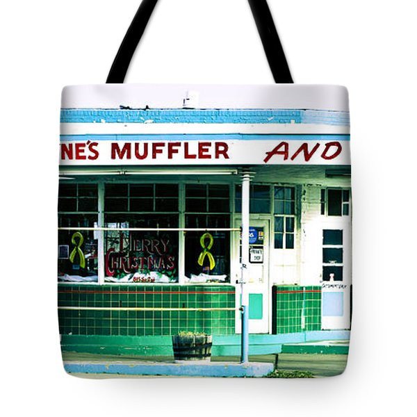 Old Gas Station Green Tile Tote Bag