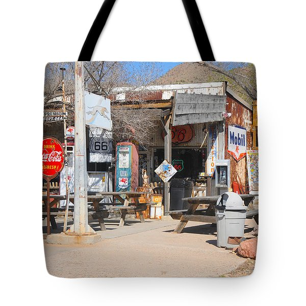 Old Gas Station, Historic Route 66 Tote Bag