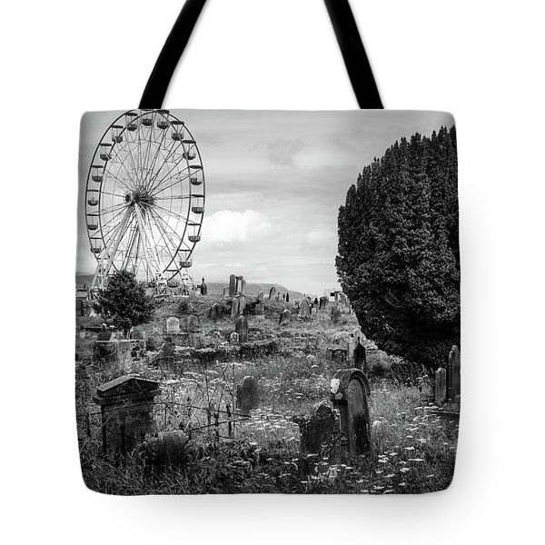 Old Glenarm Cemetery And Big Wheel Bw Tote Bag by RicardMN Photography