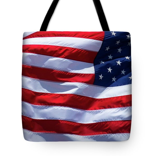 Tote Bag featuring the photograph Stitches Old Glory American Flag Art by Reid Callaway