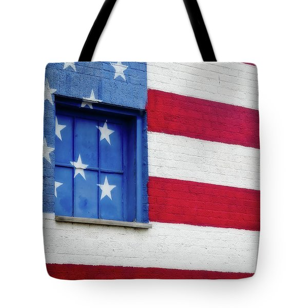 Tote Bag featuring the photograph Old Glory, American Flag Mural, Street Art by Robert Bellomy