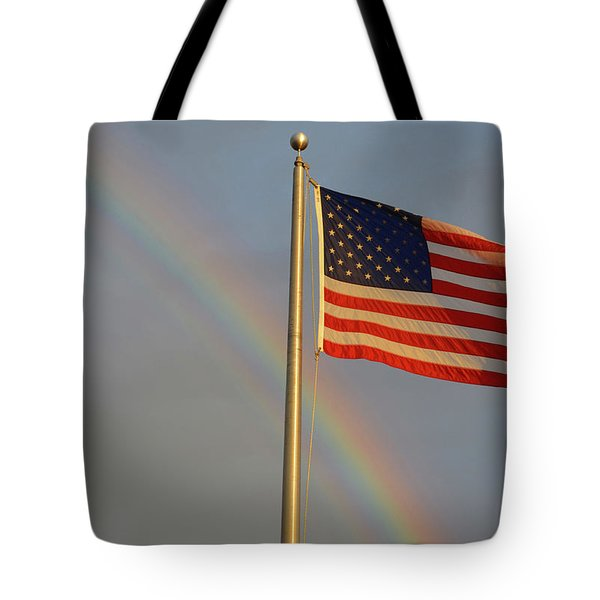 Old Glory And Rainbow Tote Bag
