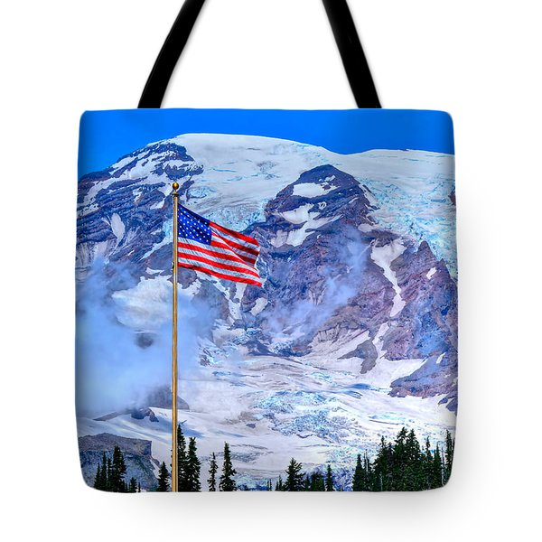 Old Glory At Mt. Rainier Tote Bag
