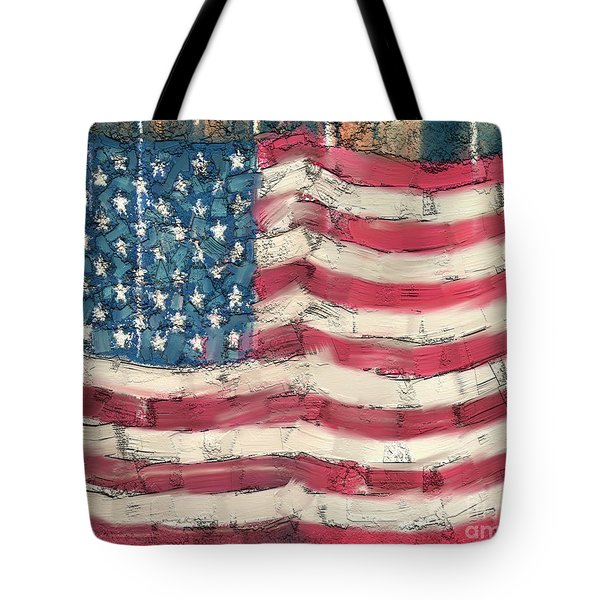 Tote Bag featuring the painting Old Glory by Carrie Joy Byrnes