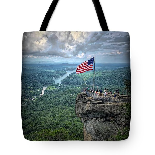 Old Glory On The Rock Tote Bag