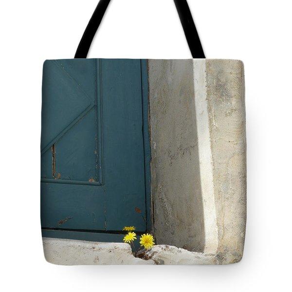 Old Greek Door Tote Bag by Valerie Ornstein