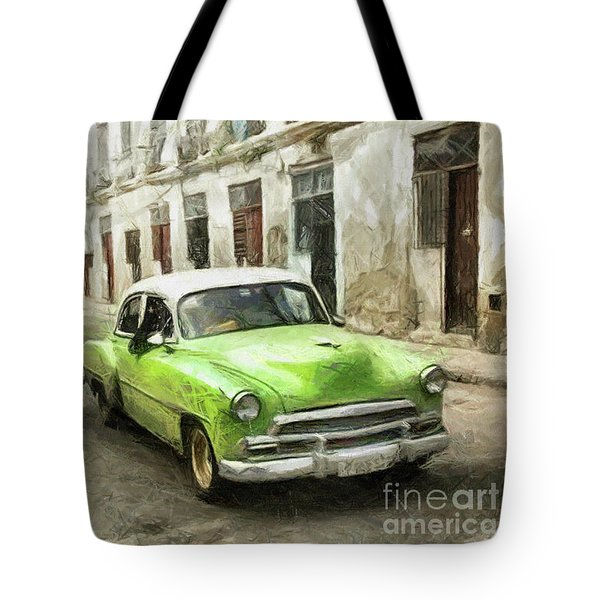 Old Green Car Tote Bag