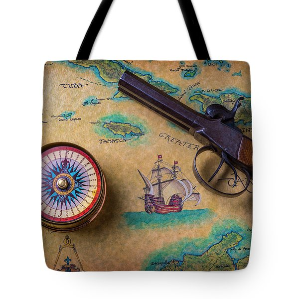 Old Gun And Compass On Map Tote Bag