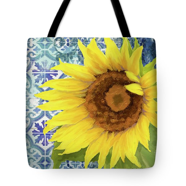 Tote Bag featuring the painting Old Havana Sunflower - Cobalt Blue Tile Painted Over Wood by Audrey Jeanne Roberts