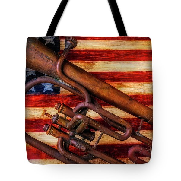 Old Horn On American Flag Tote Bag