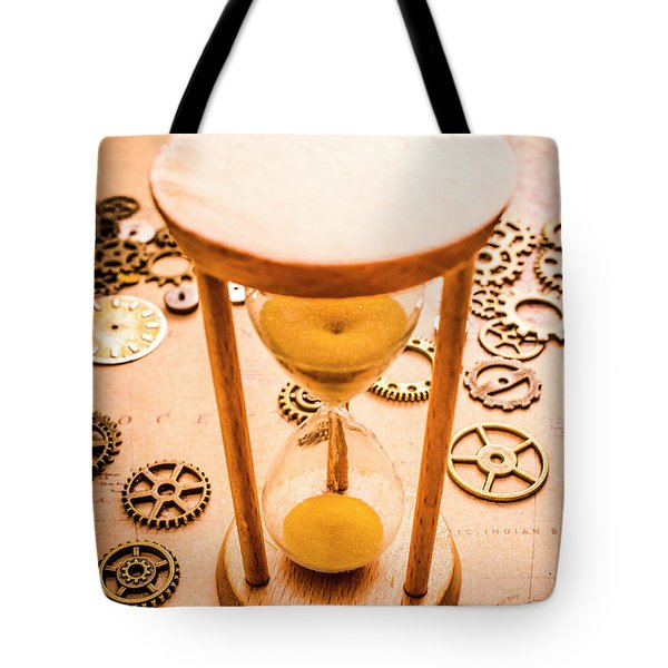Old Hourglass Near Clock Gears On Old Map Tote Bag